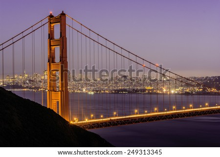 Long exposure image of Golden Gate Bridge and Skyline at sunset.