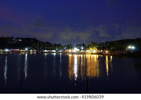 "Long exposure image of ""Songkhla Lake"" on night view Songkhla southern Thailand,Soft focus, noise and grain due long exposure."