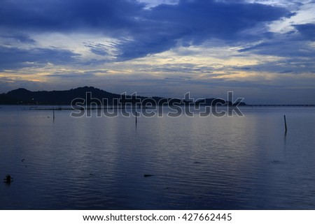 "Long exposure image of ""Songkhla Lake"" view,Soft focus"