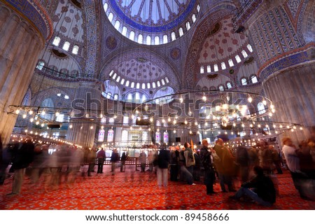Long exposure inside the magnificent Blue Mosque also known as Sultanahmet mosque. - stock photo