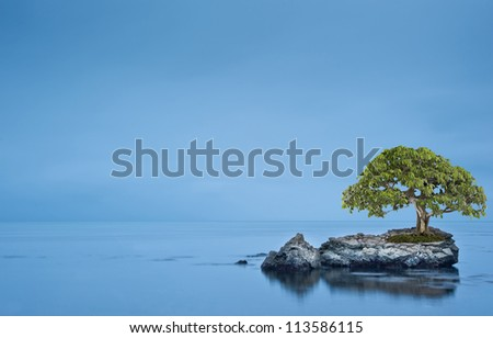 Long exposure moody dramatic seascape with rocks and motion blur - stock photo