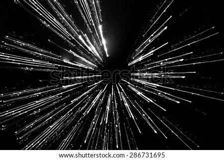long exposure, motion speed of light lines - stock photo