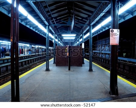 Long Exposure of A NYC Subway Station. - stock photo