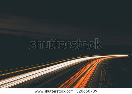 Long exposure of car lights on a freeway