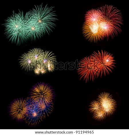Long Exposure of Fireworks - stock photo