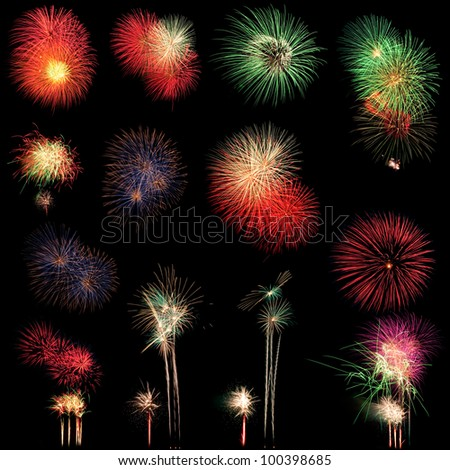 Long Exposure of Fireworks selection on black background - stock photo
