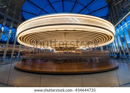 Long exposure of Jane's Carousel in Brooklyn New York - stock photo