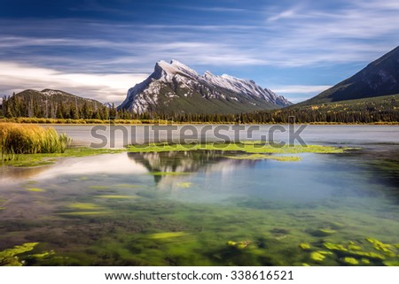 Long exposure of Mount Rundle with reflection from Second Vermilion Lake in Banff National Park, Alberta, Canada.
