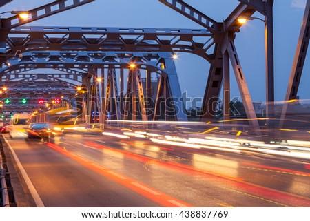 Long exposure of night traffic lights in Bangkok, Thailand - stock photo