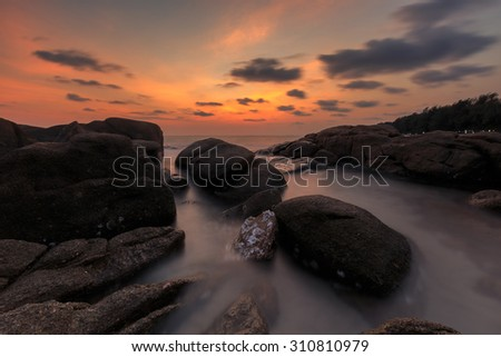 Long exposure of seascape, Thailand - stock photo