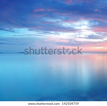 Long Exposure of soft and colorful sunset - stock photo