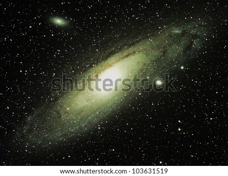 Long exposure of the Andromeda Galaxy and its two satellite galaxies