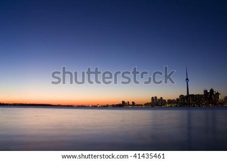 Long exposure of toronto skyline at night - stock photo