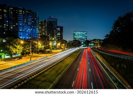 Long exposure of traffic on US 50 at night, in Arlington, Virginia. - stock photo