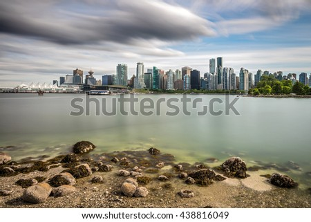 Long exposure of Vancouver city from Stanley Park, British Columbia, Canada - stock photo