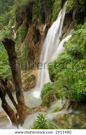 Long exposure of waterfall - stock photo