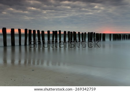 Long exposure on a beach in the north of France  - stock photo