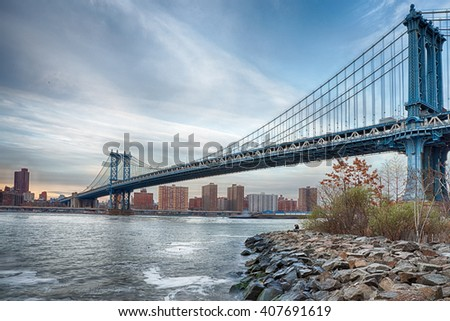 Long exposure on Manhattan Bridge - stock photo