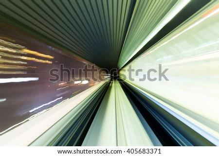 Long Exposure on train - stock photo