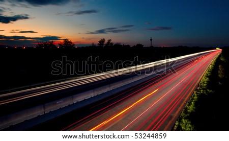 Long exposure photo of traffic - stock photo