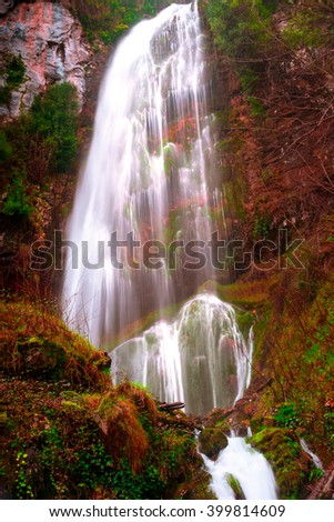 Long exposure photography, waterfall, forest, mountains and vibrant colors