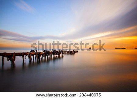Long exposure pier - stock photo