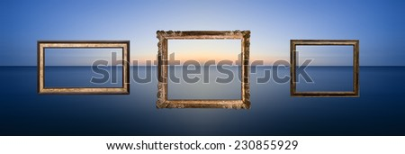 Long exposure seascape image of calm ocean at sunset, with three frames. - stock photo