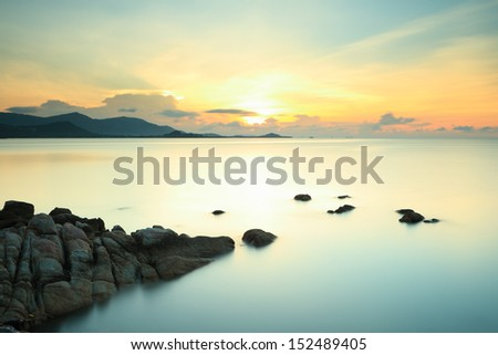Long exposure seascape with fantastic rock surface at dusk,Samui island,Thailand