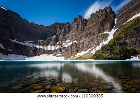 Long exposure shot of iceberg lake, Glacier national park, montana - stock photo