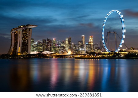 Long exposure shot of Singapore's skyline at dusk.  - stock photo