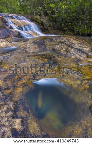 Long Exposure Shot of Water Stream in the Green Forest at the Mountain. Soft Focus Motion Blur due to Long Exposure Shot - stock photo