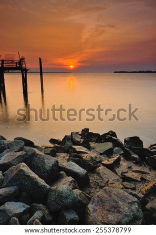 Long Exposure Sunset Seascapes - stock photo