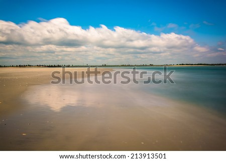 Long exposure taken on the northern shore of Strathmere, New Jersey. - stock photo