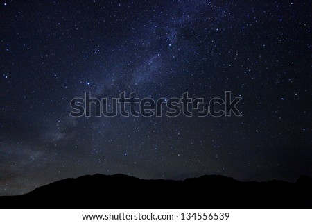 Long Exposure Time Lapse Image of the Night Stars - stock photo
