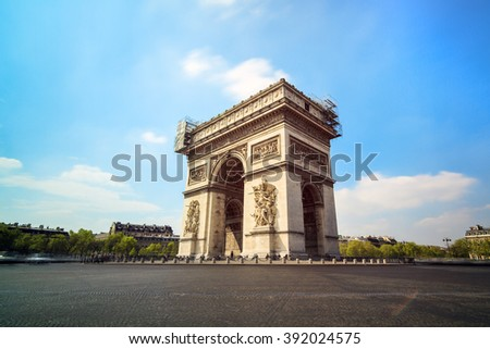 Long exposure view of the Arc du Triomphe at the Place de Gaulle in Paris, France - stock photo