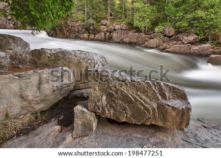 Long exposure water stream from Dorwin Falls Park in Rawdon, Quebec (Canada). - stock photo