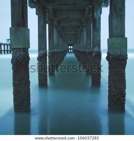 Long Exposure Water Under The Bridge - stock photo