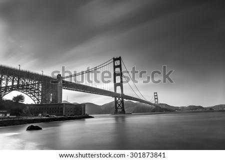 Long- Exprosure Golden Gate Bridge Black and White - stock photo