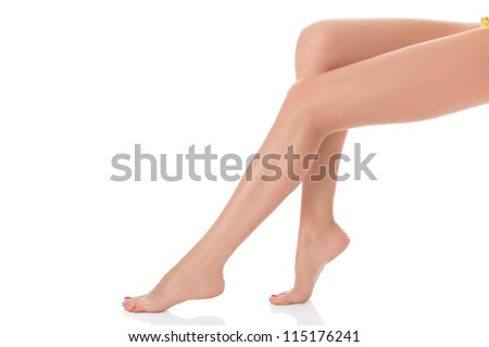 Long female legs after depilation, isolated on white background