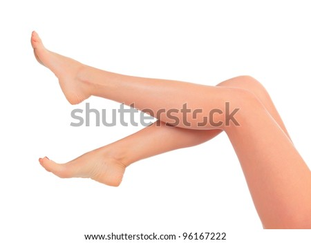 Long female legs after depilation, isolated on white background.