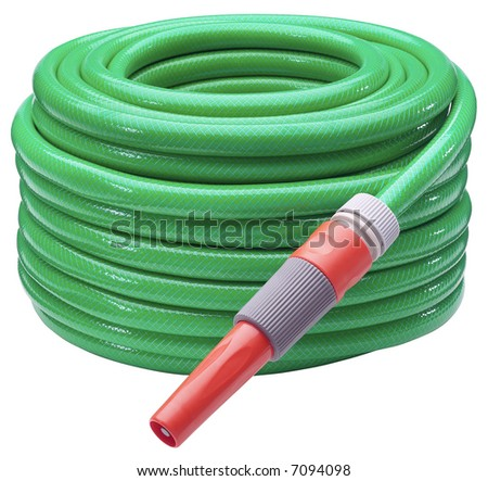Long Garden Hose - isolated on white