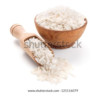 long grain rice in a wooden bowl isolated on white background - stock photo