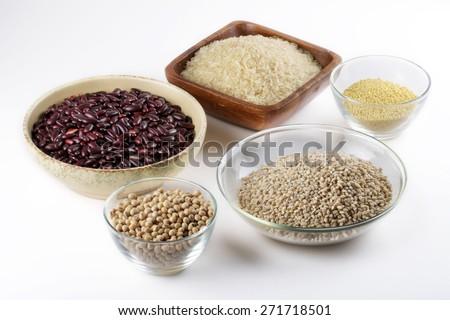 long-grain rice, red beans, soya beans, millet, pearl barley. - stock photo