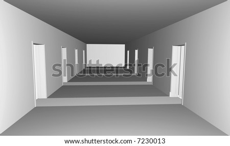 long gray corridor with doors