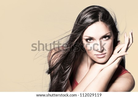 long hair beauty woman portrait studio shot horizontal - stock photo