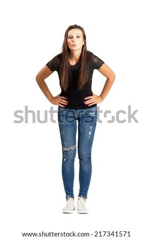 Long hair brunette woman sending kiss to camera. Full body length isolated over white. - stock photo