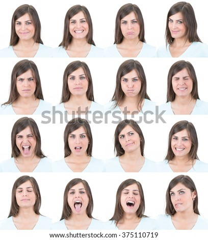 long hair brunette young casual caucasian woman collection set of face expression like happy, sad, angry, surprise, yawn isolated on white - stock photo