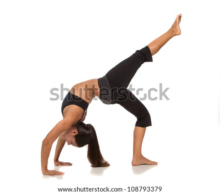 Long Hair Flexible Female Practicing Yoga on Isolated White background