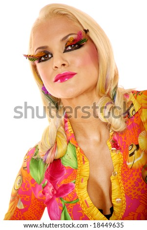 Long haired blonde woman in makeup