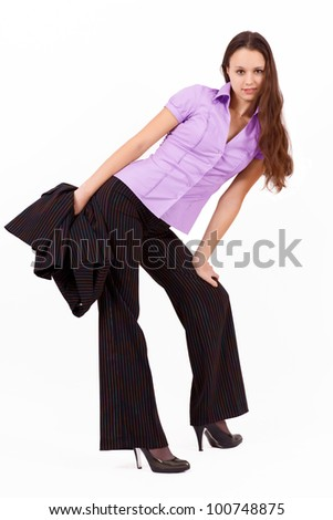 long-haired brunette in a suit isolated on white - stock photo